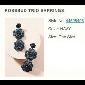Anthropologie Rosebud Trio Earrings - Navy.